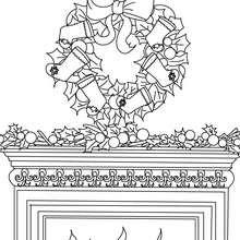 Coloriage couronne Noël cheminée - Coloriage - Coloriage FETES - Coloriage NOEL - Coloriage COURONNE DE NOËL