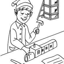 Coloriage : Lutin dans la fabrique à jouets à imprimer
