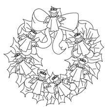 Coloriage couronne Noël anges