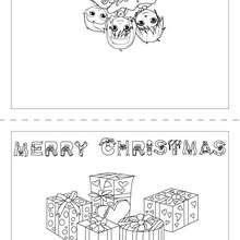 Carte Joyeux Noël Anglais à colorier - Coloriage - Coloriage FETES - Coloriage NOEL - Coloriage CARTES DE VOEUX NOEL - Coloriage CARTE DE VOEUX NOEL GRATUIT