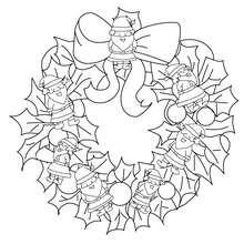 Coloriage couronne père Noël - Coloriage - Coloriage FETES - Coloriage NOEL - Coloriage COURONNE DE NOËL