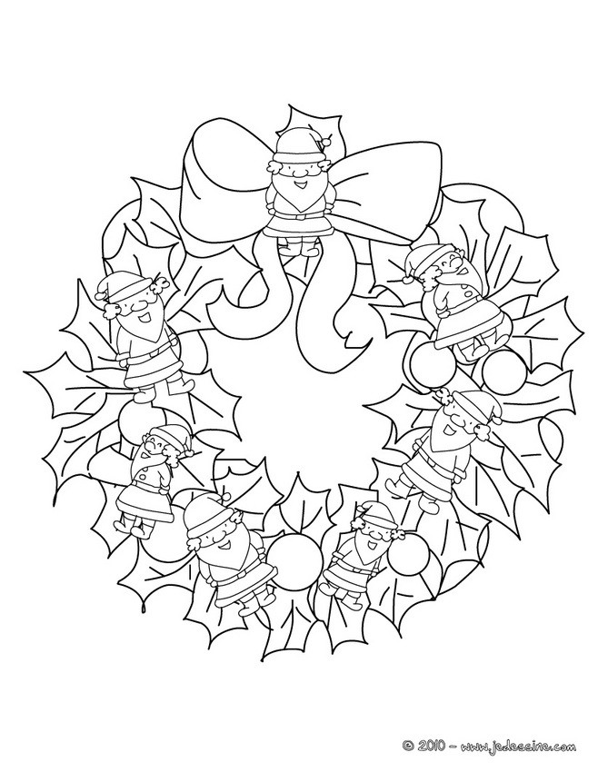 Coloriages coloriage couronne p re no l - Couronne de noel a colorier ...