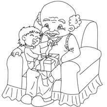 Cadeau grand père à colorier - Coloriage - Coloriage FETES - Coloriage NOEL - Coloriage CADEAUX DE NOEL - Coloriages CADEAUX DE NOEL