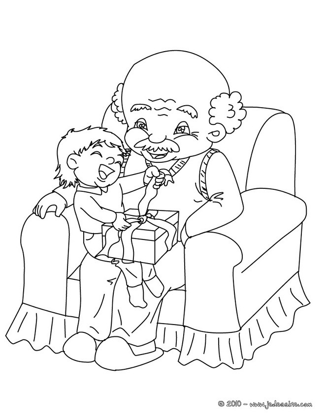 coloriage cadeau grand pre colorier