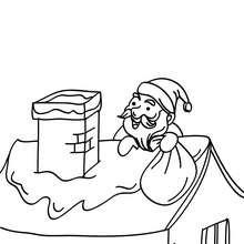Coloriage Père Noël sur le toit - Coloriage - Coloriage FETES - Coloriage NOEL - Coloriage PERE NOEL - Coloriages PERE NOEL