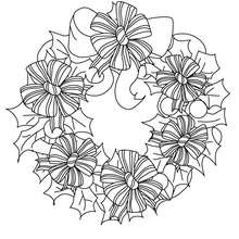 Coloriage couronne fleurs de Noël - Coloriage - Coloriage FETES - Coloriage NOEL - Coloriage COURONNE DE NOËL