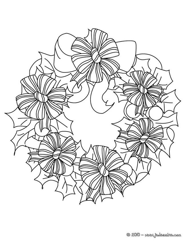 coloriage couronne fleurs de nol