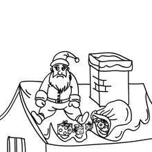 Coloriage Père Noël sur le toit à colorier - Coloriage - Coloriage FETES - Coloriage NOEL - Coloriage PERE NOEL - Coloriages PERE NOEL