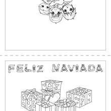 Joyeux Noël espagnol carte de voeux - Coloriage - Coloriage FETES - Coloriage NOEL - Coloriage CARTES DE VOEUX NOEL - Coloriage CARTE DE VOEUX NOEL GRATUIT