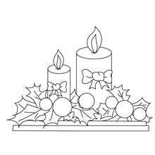 Coloriage houx et bougies - Coloriage - Coloriage FETES - Coloriage NOEL - Coloriage HOUX DE NOËL
