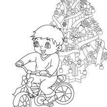 Cadeau vélo à colorier - Coloriage - Coloriage FETES - Coloriage NOEL - Coloriage CADEAUX DE NOEL - Coloriages CADEAUX DE NOEL