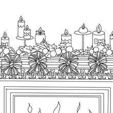 Houx et bougies à colorier - Coloriage - Coloriage FETES - Coloriage NOEL - Coloriage HOUX DE NOËL