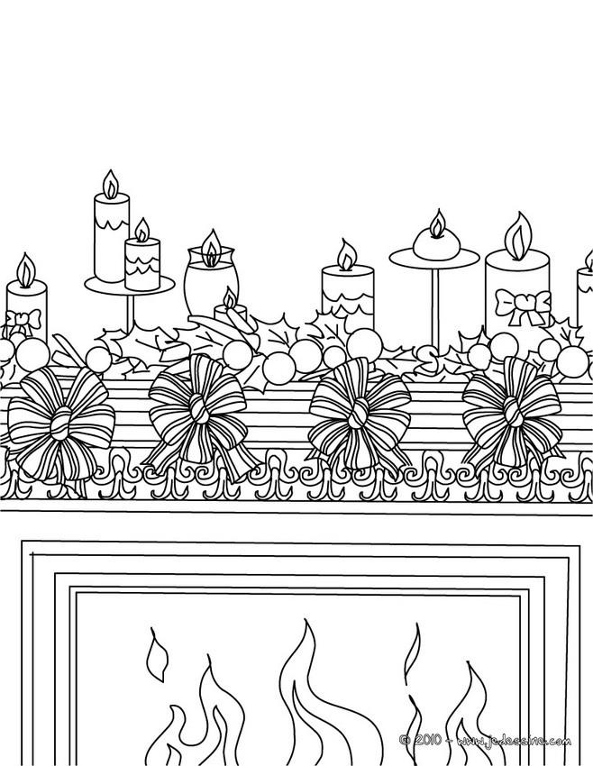 Coloriages houx et bougies colorier for Decoration noel dessin