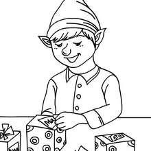 Coloriage : Petit lutin de Noël emballe les cadeaux