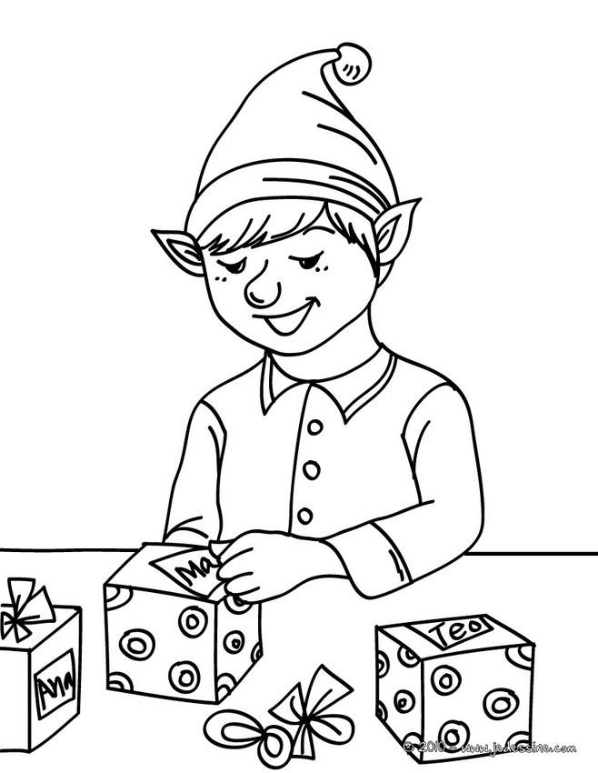 Coloriages petit lutin de no l emballe les cadeaux - Coloriage lutin ...