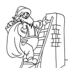 Coloriage Père Noël grimpant à la cheminée - Coloriage - Coloriage FETES - Coloriage NOEL - Coloriage PERE NOEL - Coloriages PERE NOEL