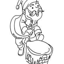 Coloriage Père Noël descente cheminée - Coloriage - Coloriage FETES - Coloriage NOEL - Coloriage PERE NOEL - Coloriages PERE NOEL