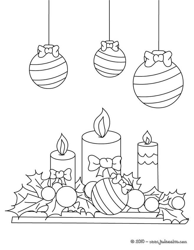 Coloriages boules houx et bougies imprimer fr - Bougie de noel ...