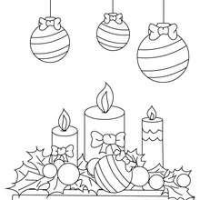 Boules houx et bougies à imprimer - Coloriage - Coloriage FETES - Coloriage NOEL - Coloriage HOUX DE NOËL