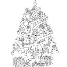 Sapin de Noël et cadeaux à colorier - Coloriage - Coloriage FETES - Coloriage NOEL - Coloriage SAPIN DE NOEL - Coloriage SAPIN DE NOEL DECORE