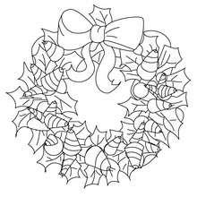 Coloriage couronne noeud de Noël - Coloriage - Coloriage FETES - Coloriage NOEL - Coloriage COURONNE DE NOËL