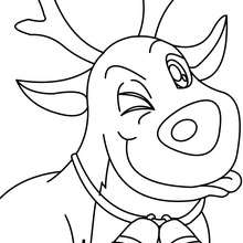 Coloriage Rudolph gratuit - Coloriage - Coloriage FETES - Coloriage NOEL - Coloriage RENNES DU PERE NOEL - Coloriages RENNES DU PERE NOEL