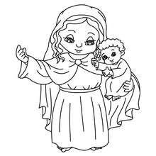 Marie avec Jésus à colorier - Coloriage - Coloriage FETES - Coloriage NOEL - Coloriage PERSONNAGES RELIGIEUX