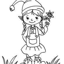 Coloriage Lutin de Noël à la fleur
