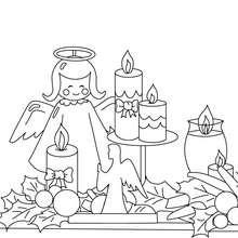 Coloriage ange et houx de Noël - Coloriage - Coloriage FETES - Coloriage NOEL - Coloriage HOUX DE NOËL