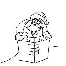 Coloriage Père Noël prêt à decendre - Coloriage - Coloriage FETES - Coloriage NOEL - Coloriage PERE NOEL - Coloriages PERE NOEL