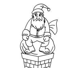 Papa Noël coincé cheminée à colorier - Coloriage - Coloriage FETES - Coloriage NOEL - Coloriage PERE NOEL - Coloriages PERE NOEL