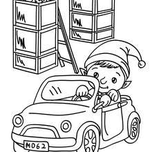 Coloriage Lutin de Noël petite voiture