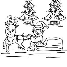 Coloriage Lutin de Noël en traineau