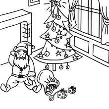 Papa Noël tombé dans cheminée à colorier