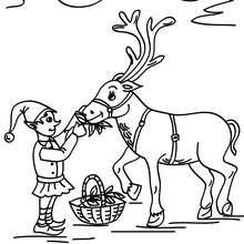 Coloriage Lutin de Noël et le Renne