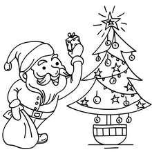 Papa Noël devant sapin à colorier