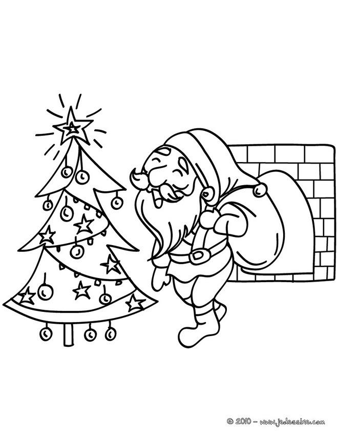 Coloriages Papa Noël Au Pied Du Sapin à Colorier Fr