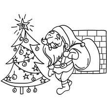 Papa Nol au pied du sapin  colorier - Coloriage - Coloriage FETES - Coloriage NOEL - Coloriage PERE NOEL - Coloriages PERE NOEL