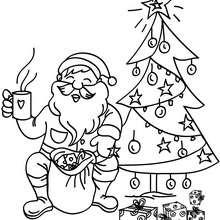 Papa Noël et son café à colorier - Coloriage - Coloriage FETES - Coloriage NOEL - Coloriage PERE NOEL - Coloriages PERE NOEL