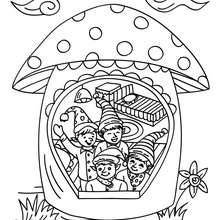 Coloriage Lutin de Noël dans champignon - Coloriage - Coloriage FETES - Coloriage NOEL - Coloriage LUTIN DE NOEL - Coloriages LUTIN DE NOEL