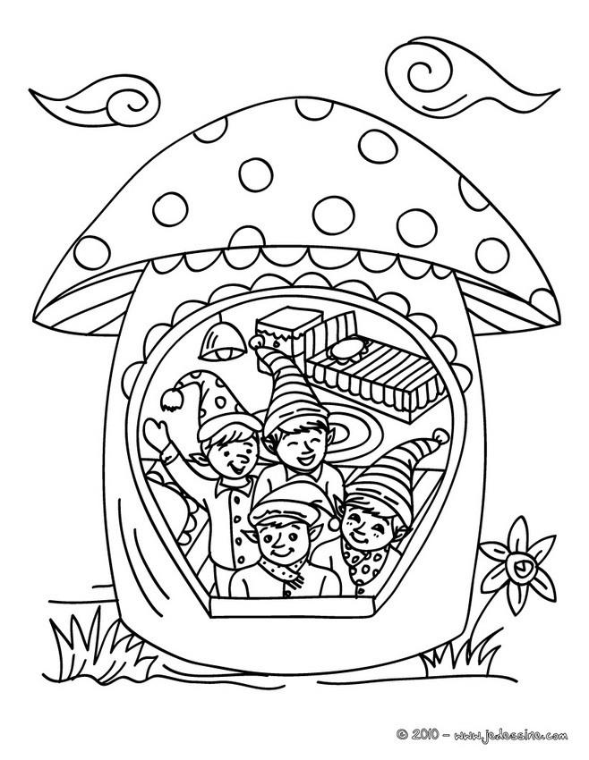 Coloriages coloriage lutin de no l dans champignon - Coloriage lutin ...