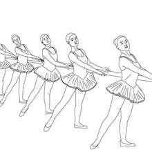 Coloriage danseuses à la barre - Coloriage - Coloriage SPORT - Coloriage DANSE - Coloriage REPETITION DE DANSE