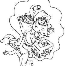 Coloriage Lutin de Noël et père Noël