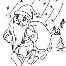Papa Noël en route à imprimer - Coloriage - Coloriage FETES - Coloriage NOEL - Coloriage PERE NOEL - Coloriages PERE NOEL