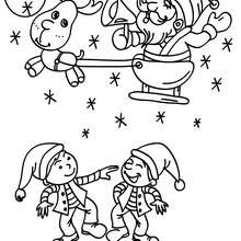 Papa Nol et lutins  imprimer - Coloriage - Coloriage FETES - Coloriage NOEL - Coloriage PERE NOEL - Coloriages PERE NOEL