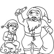 Coloriage Lutin de Nol et Papa Nol - Coloriage - Coloriage FETES - Coloriage NOEL - Coloriage LUTIN DE NOEL - Coloriages LUTIN DE NOEL