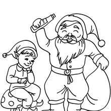 Coloriage Lutin de Noël et Papa Noël