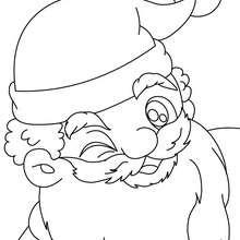 Papa Noël clin d'oeil à imprimer - Coloriage - Coloriage FETES - Coloriage NOEL - Coloriage PERE NOEL - Coloriages PERE NOEL
