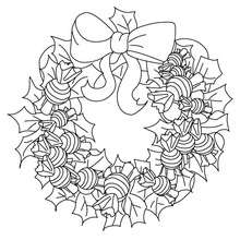 Coloriages coloriage couronne bonbons de no l fr - Couronne de noel a colorier ...