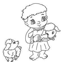 Petit berger au mouton à colorier - Coloriage - Coloriage FETES - Coloriage NOEL - Coloriage PERSONNAGES RELIGIEUX
